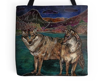 Wolf Love, Tote Bag, Wolf Bag, Animal Bag, Wolves, Nature Lover, Boho Art, Woodland, Animals, Whimsical, Shopping Tote, Pagan, Wolf Tote