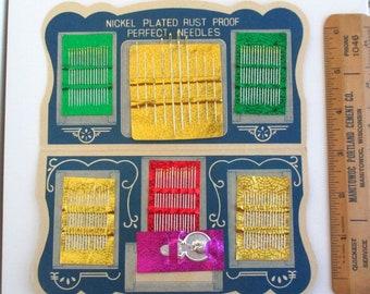 Vintage Atomic Gold Eye Sewing Needles Pack, Unused Vintage Set of Assorted Nickel Plated Needles