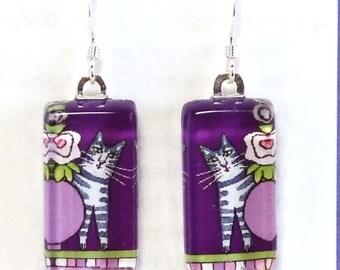 Tabby Cat Earrings in Purples/ Whimsical Glass Jewelry/ Art by Susan Faye