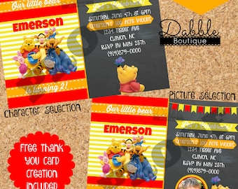 Tigger invitations etsy winnie the pooh birthday invitation tigger piglet eeyore invitation includes free thank you card filmwisefo