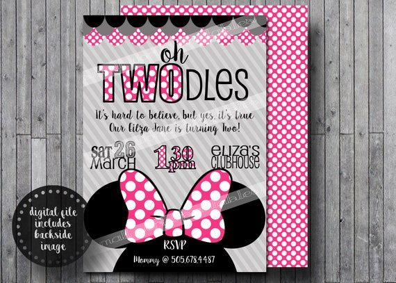 Oh Twodles Invitations FREE Thank you Cards Toodles Minnie
