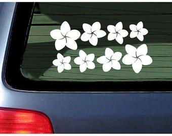 Plumeria Flower Band Vinyl Decal Sticker Hawaii Frangipani