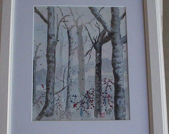 "Winter Birches Matted/Framed 16.5"" x 13.5"""