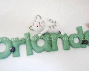 Cute kitten sign / name banner / Baby Cats Sign / Wall décor / Nursery décor / babyroom décor