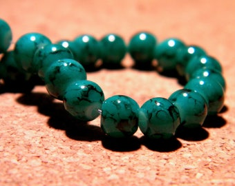 50 marble speckled glass beads - 6 mm - emerald green dark - PF68