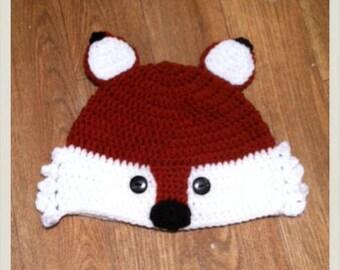 Crochet Fox Hat - choose size