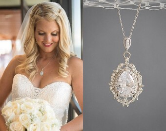 Crystal Bridal Necklace, Wedding Necklace, Rose Gold Necklace, Zirconia Teardrop Pendant Necklace, Vintage Style Wedding Jewelry, LIBBY