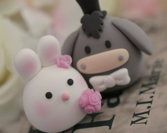 Donkey and bunny wedding cake topper