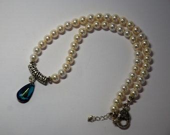Bermuda Blue Swarovski Teardrop Pendant on White Swarovski Pearl Necklace