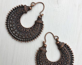Copper Earrings, Hoop, Tribal, Boho, Ethnic, Bohemian, Gypsy, Festival