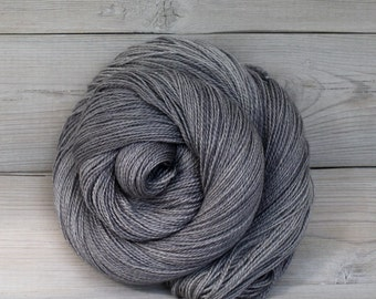 Starbright - Hand Dyed Bluefaced Leicester Silk Heavy Lace Light Fingering Yarn - Colorway: Pewter