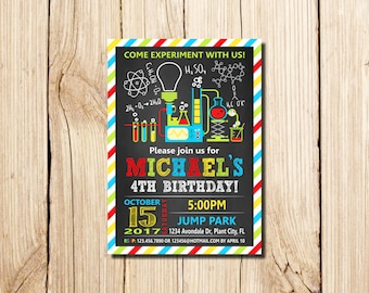 Science Invitation, Science Experiment Birthday Invitation, Science Birthday Party Invitation, Science Party, experiment, beakers
