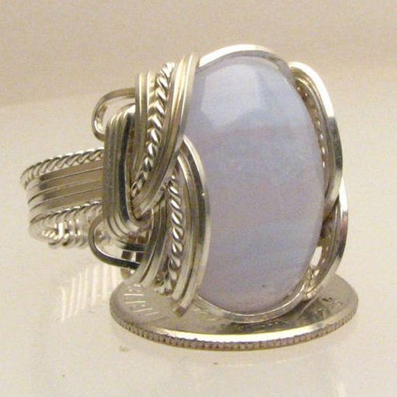 Handmade Wire Wrapped Blue Lace Agate Sterling Silver Ring. Custom Personalized Sizing to fit you.