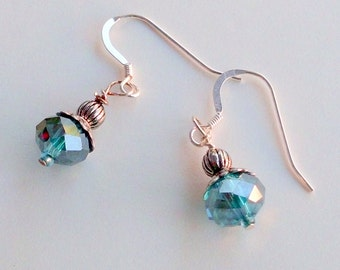 Faceted Teal Blue Green Vintage Style Earrings on Sterling Silver