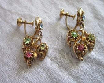 Vintage  Dangling  Blue Green & Pink Rhinestone Stylized Flower Earrings