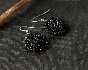 Black Mandala Star Beadwoven earrings
