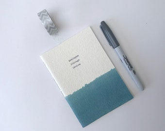 Personalised Notebook, small blue Pocket Notebook- handstitched notebook, blue, green, yellow, pink, small gift, stocking filler