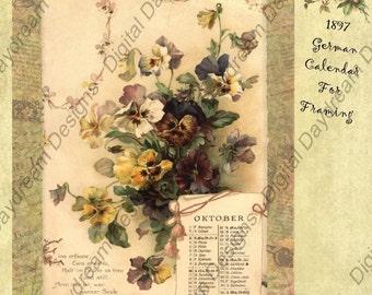 Instant Download Printable 1897 German Calendar for framing