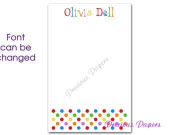 Personalized polka dots note pads Personalized polka dot notepads Personalized kids note pads kids gifts