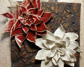 """Ceramic Tile Wall Hanging - 8"""" x 8"""" in. Ceramic Wall Sculpture - Forest in Bloom - Handmade Pottery Stoneware"""