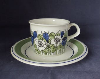 Arabia of Finland. Krokus, Esteri Tomula coffee cup and saucer.