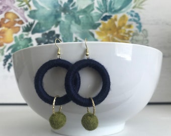Hoop and bead earrings in Navy Blue and Green