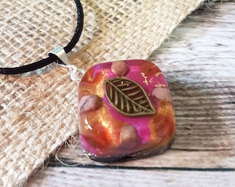 Carnelian Rhodonite Orgone Energy Pendant - Positive Energy Necklace - Spiritual Gift and Energy Healing Jewellery - Leaf - OOAK - Medium