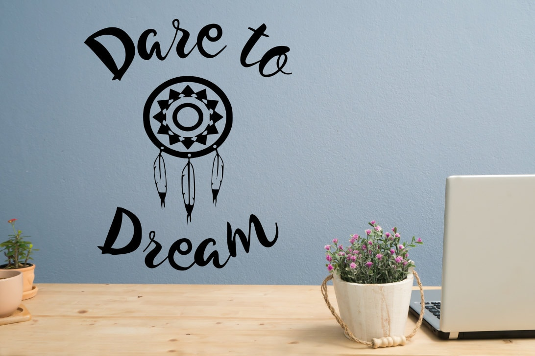 Dare To Dream Decal, Dream Catcher Decal, Dare To Be, Dare To Live,  Dreamcatcher Decal, Dream Wall Decal, Dream Wall Art, Dream Wall Decor