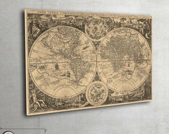 Historical maps etsy rare old world map print 1596 world map art huge archival print gumiabroncs Image collections