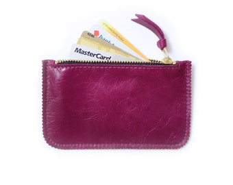 Magenta Credit Card Holder, Leather Coin Purse