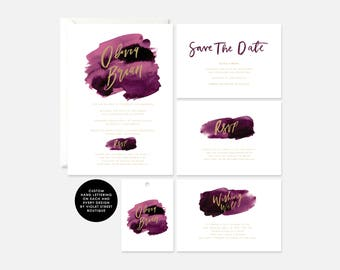 Printable Watercolour Invite, Berry Wedding Invitation, Invitation RSVP, Navy Wedding Printable, PDF Berry Invite, Berry Wedding Suite, PDF