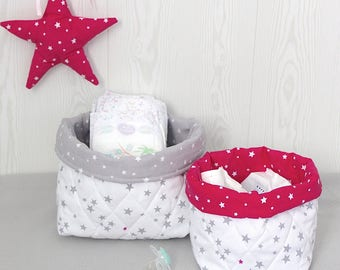 2 baskets matching a changing pad cover, white with grey/fuchsia stars