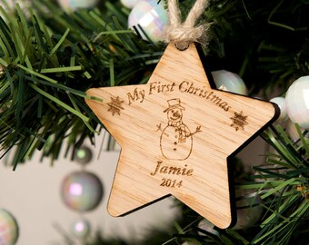 First Christmas Snowman Personalised Wooden Star - Wooden Christmas Star, My First Christmas Ornament, Baby's First Christmas Ornament.