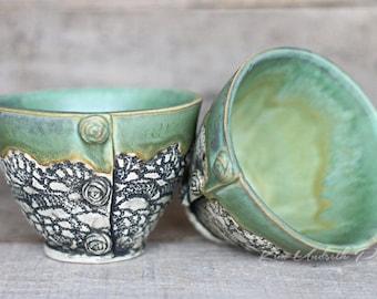 Spearmint vintage bowls, wine cup, tea bowl, prep bowl, kitchen decor, cute pottery bowl, vintage bowl, dessert bowl, ceramic art
