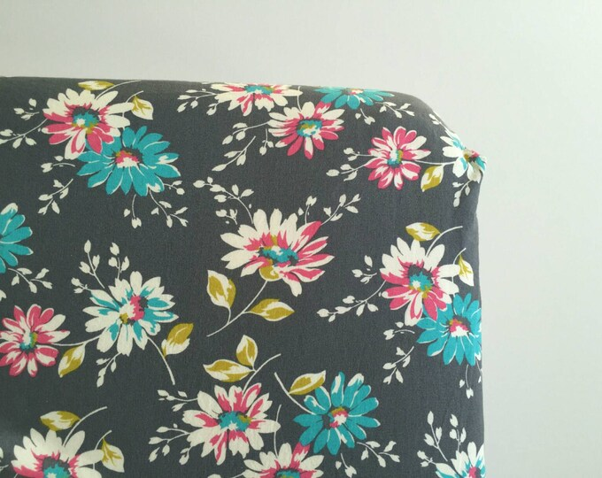 Grey, bright blue, pink, chartreuse floral fitted crib sheet