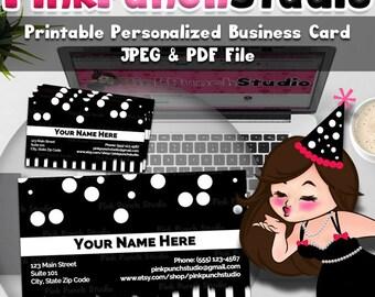 Personalized Printable Business Card Design Black Polka Dots Stripes JPEG PDF Digital File