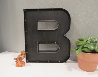 "Custom 12"" Metal Letter B for Shelf or Wall-A to Z Industrial Metal Letters-Rustic Wedding Letters-Home/Office Rustic Farmhouse Letters"