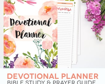 Bible Study Printables Set - Floral Theme, Daily Devotional Guide, Prayer Schedule, Inductive, INSTANT DOWNLOAD