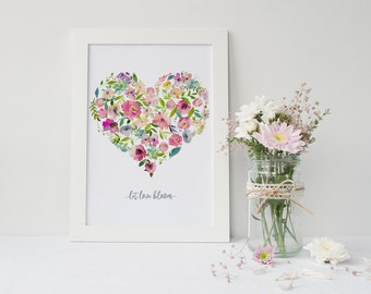 Let Love Bloom - Watercolour Floral Heart Print - Wall Art - Home Decor