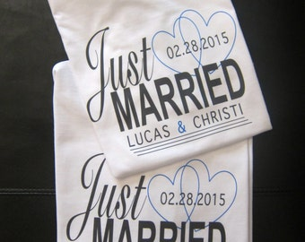 JUST MARRIED shirts; just married; getting married; getting ready shirt; wifey shirt; husband and wife shirts; wife to husband gift; BRIDE
