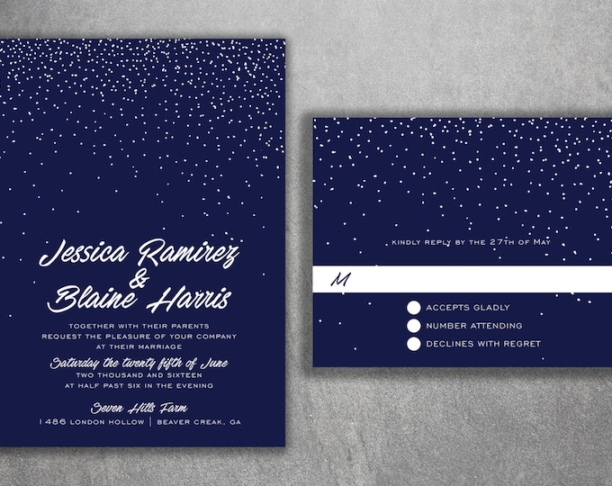 Snowflake Wedding Invitations, Snow Fall Wedding Invitations, Stars, Navy & White, Winter Wedding Invitations, Lights, Wedding Invitation