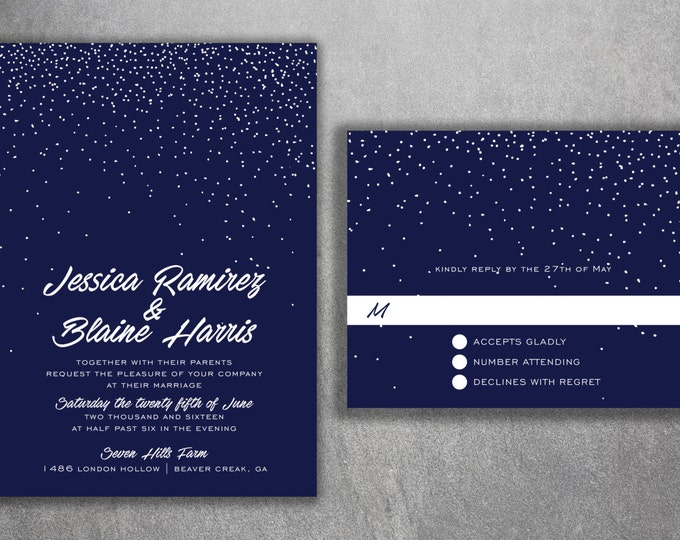 Blue & White Wedding Invitations Set - Cheap Wedding Invitations ,Unique, Announcements, Custom, Stars, Night, DIY, Affordable Invitations