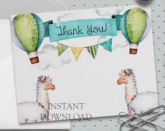 Printable Thank You Card, Llama Thank You Card, 5.5 x 4.25 inch (A2), Baby Shower Thank You, Birthday Thank You, Hot Air Balloons, Thanks