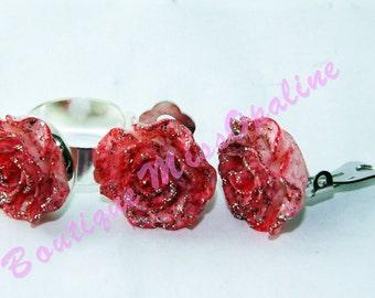 ring pink sequin flower clip earring set