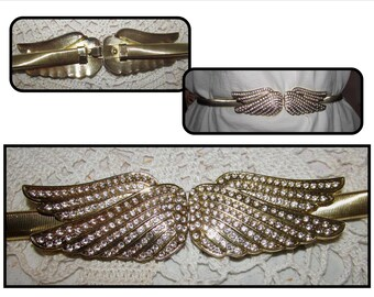 Vintage Gold Tone Spring Stretch Belt with Rhinestone Angel Wings, 80s, Fashion accessory