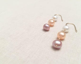 Ombre Pink Freshwater Pearl and Gold Trio Drops - 14k Yellow Gold Fill Wire Wrapped Genuine Pink Lavender White Pearl Elegant Drop Earrings
