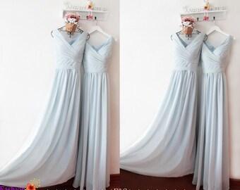 Prom Dress Vintage,Bridesmaid Dresses,Dusty Blue Bridesmaid Prom Dress,Bridesmaid Dresses,V neck Prom Dress,Bridesmaid Dress,Prom Dress 2017