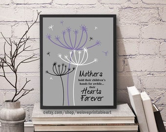 Mother's Day Gift, Mom Quote Print, Mother Gift Idea, Gift for Mother, Mother's Day Wall Art, Purple Gray, Dandelion Art, Gift for Mom