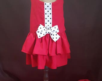 Red Dress with White Ribbon and Black Polk a Dot Accents