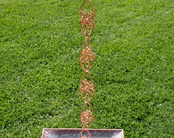 8 Ft Solid Copper Big Love Hearts Rain Chain Kusari Doi Feng Shui Zen Outdoor Garden Decor Water Feature Handcrafted Metalwork